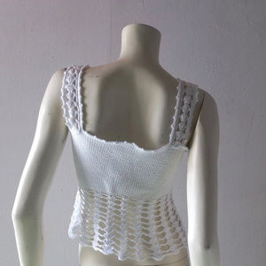 Anna Molinari Tops - Anna Molinari white crochet cotton midriff top S